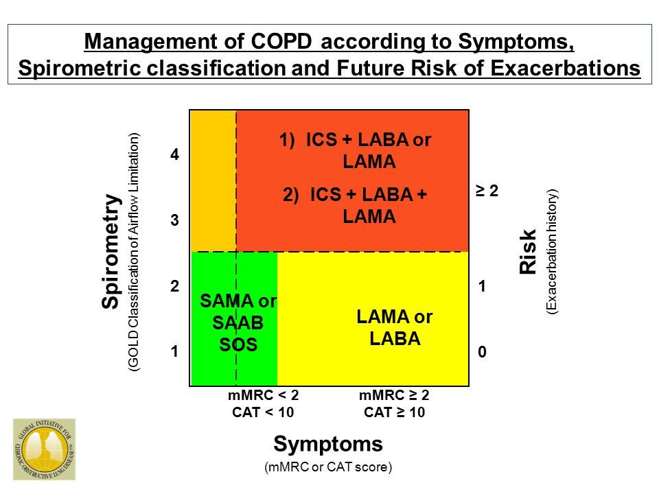 Management of COPD according to Symptoms, Spirometric classification and Future Risk of Exacerbations