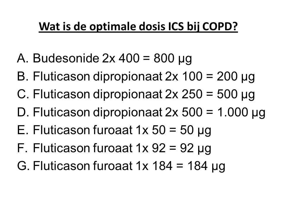 Wat is de optimale dosis ICS bij COPD