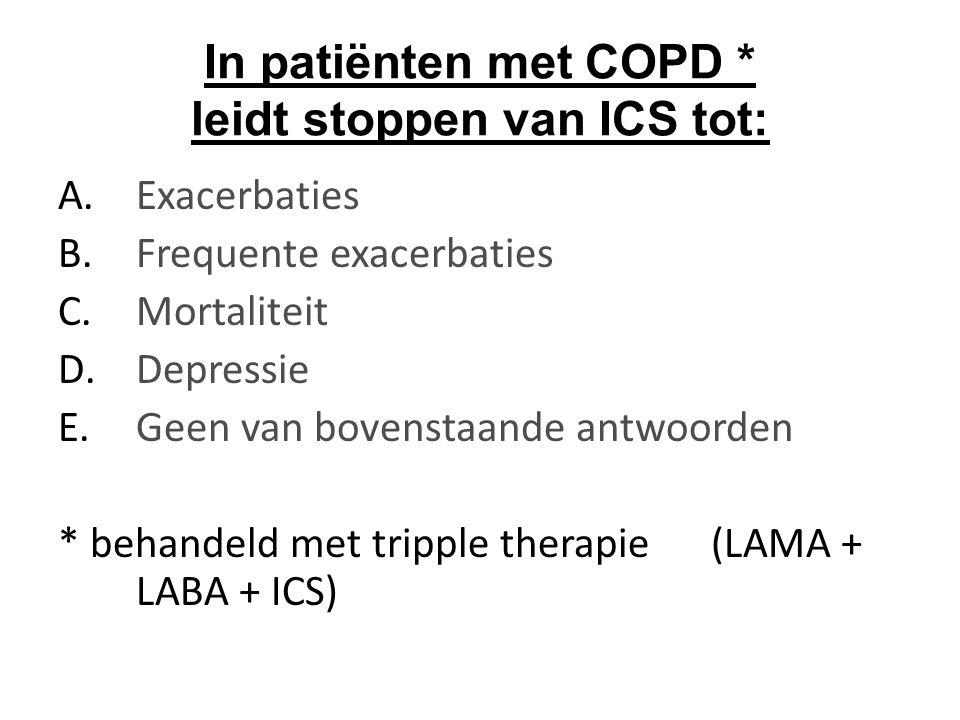 In patiënten met COPD * leidt stoppen van ICS tot: