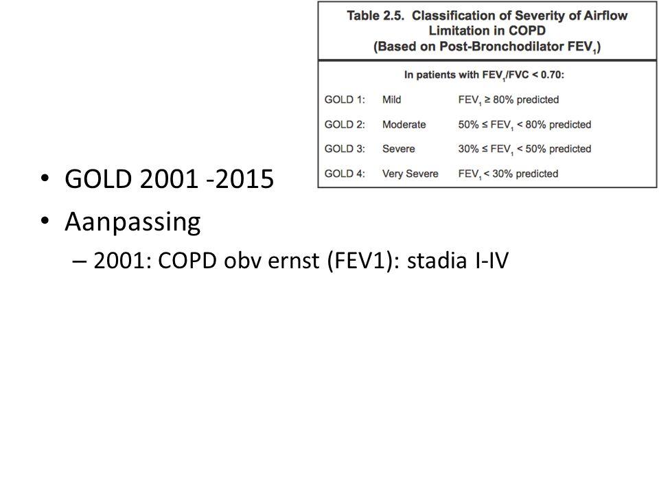 GOLD 2001 -2015 Aanpassing 2001: COPD obv ernst (FEV1): stadia I-IV 2.