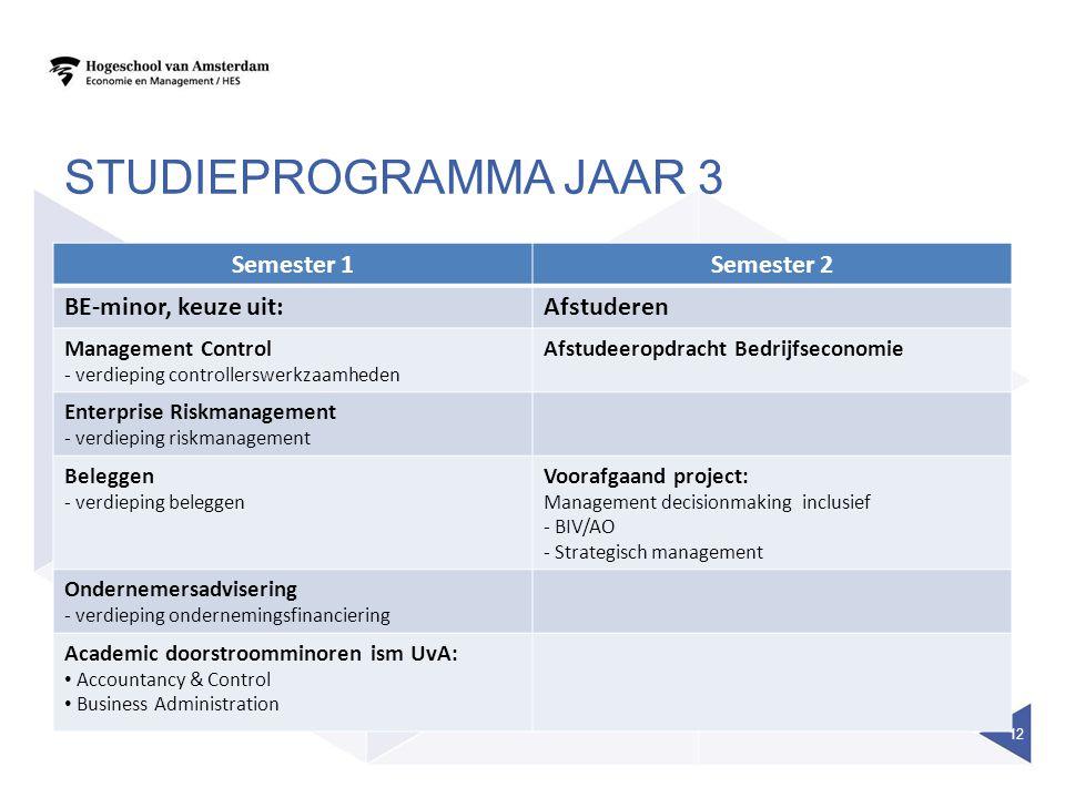 studieprogramma jaar 3 Semester 1 Semester 2 BE-minor, keuze uit: