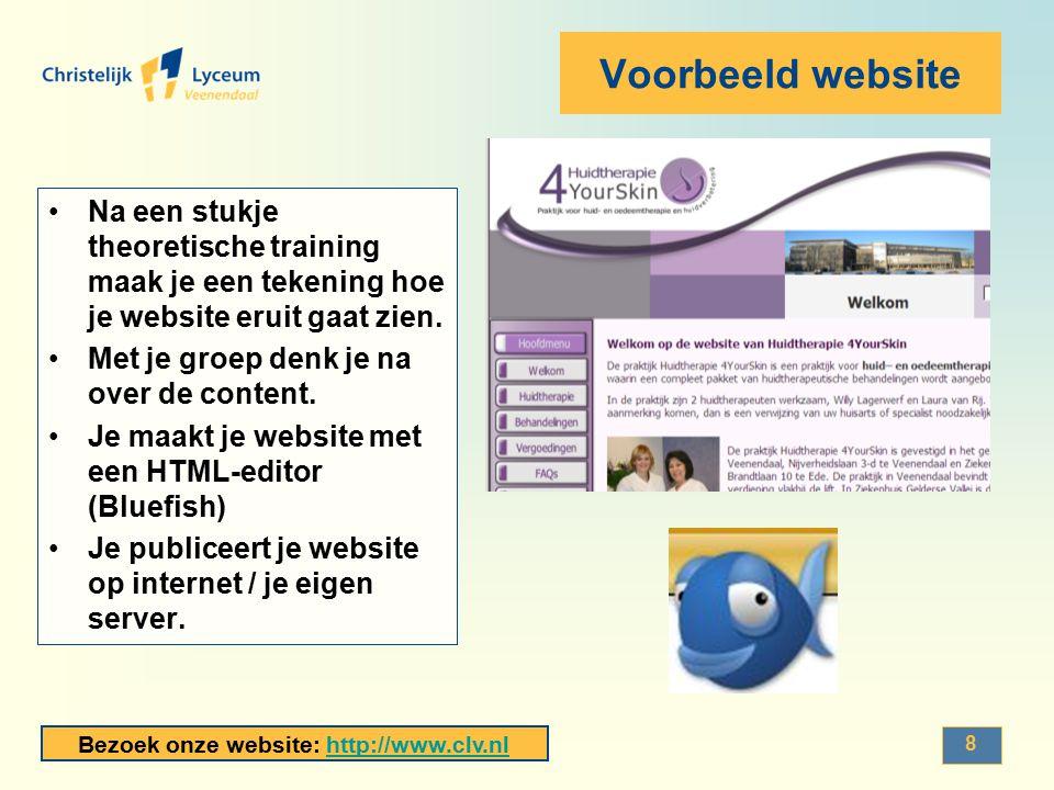 Voorbeeld website Na een stukje theoretische training maak je een tekening hoe je website eruit gaat zien.