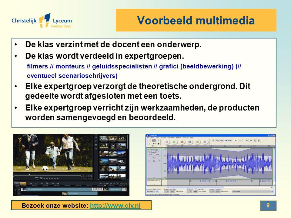 Voorbeeld multimedia De klas verzint met de docent een onderwerp.