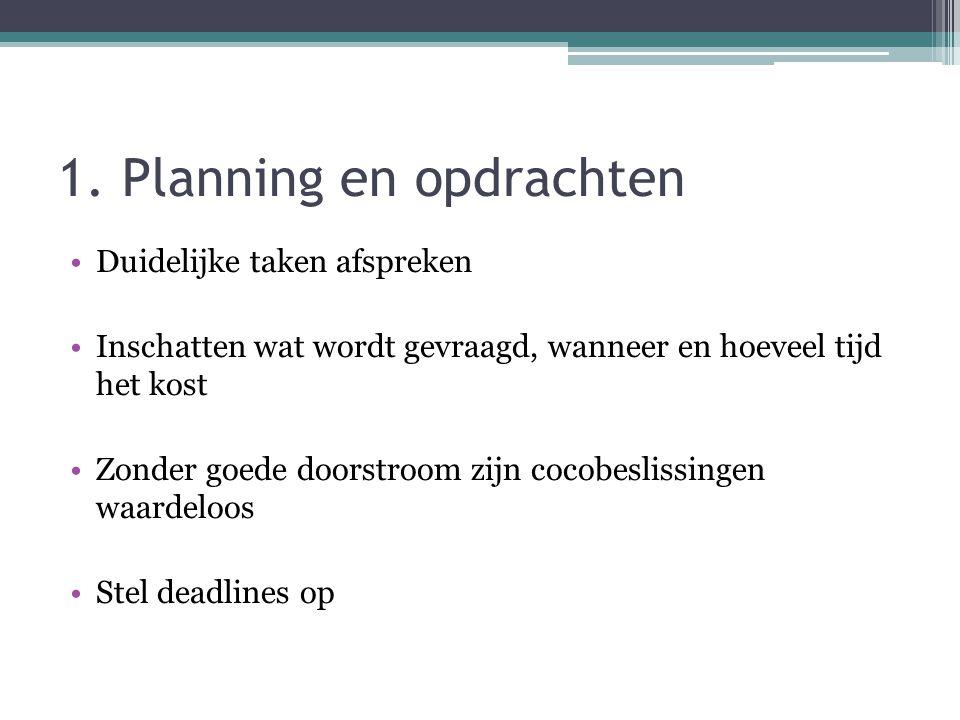 1. Planning en opdrachten