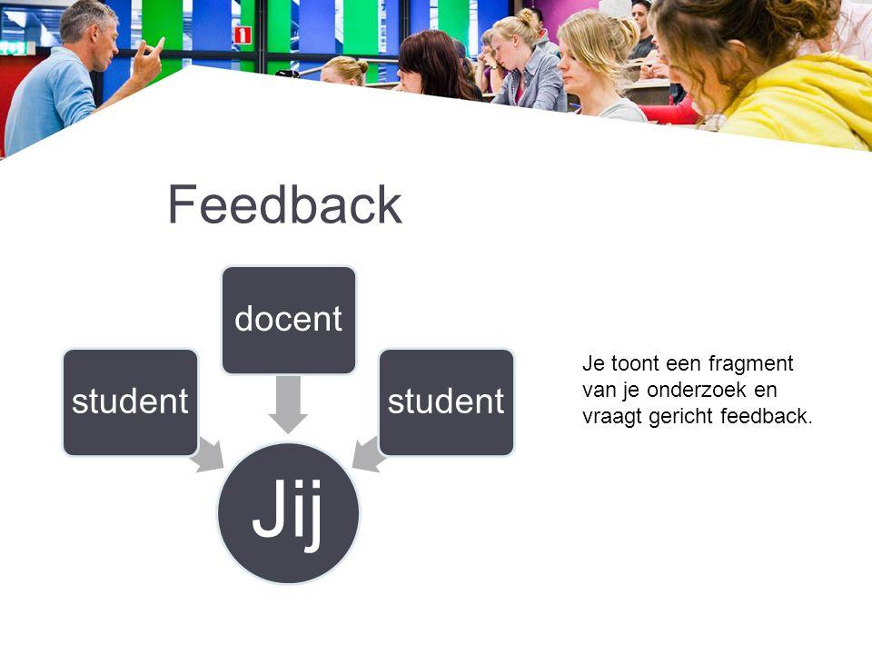 Jij Feedback docent student Je toont een fragment van je onderzoek en