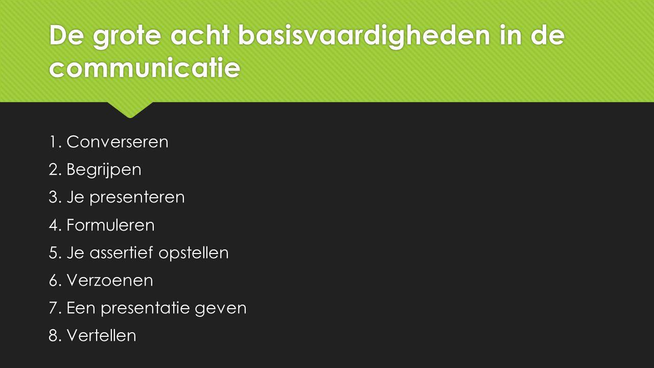 De grote acht basisvaardigheden in de communicatie