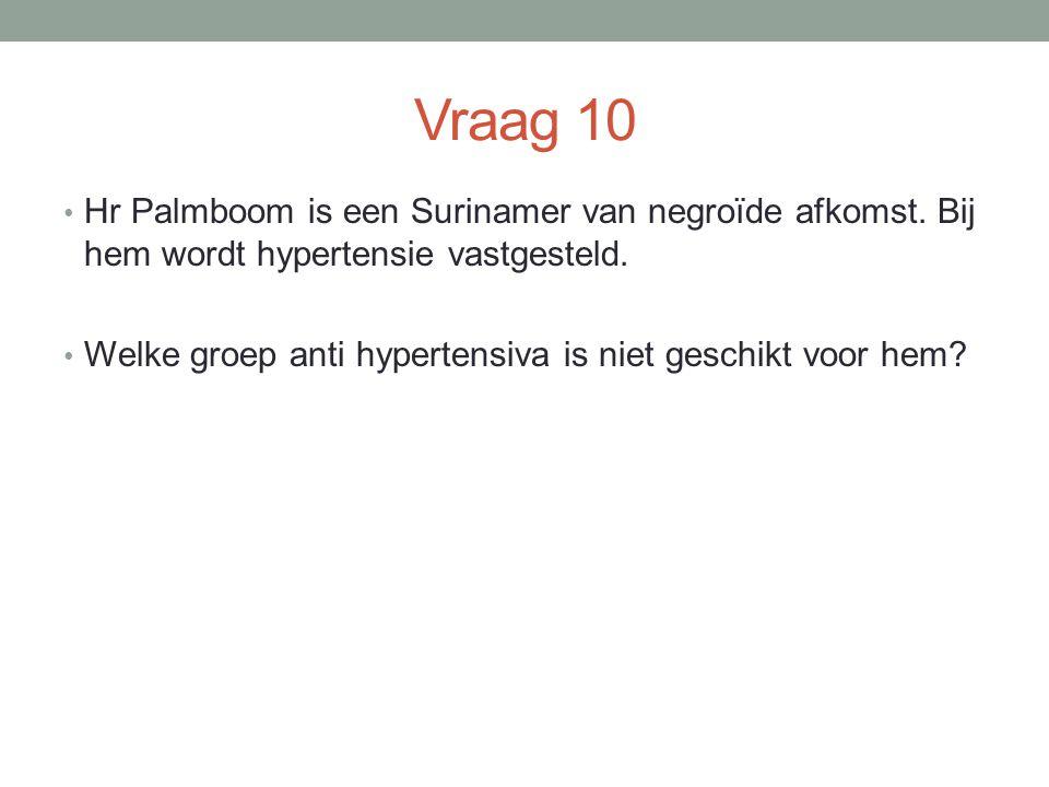 Vraag 10 Hr Palmboom is een Surinamer van negroïde afkomst. Bij hem wordt hypertensie vastgesteld.