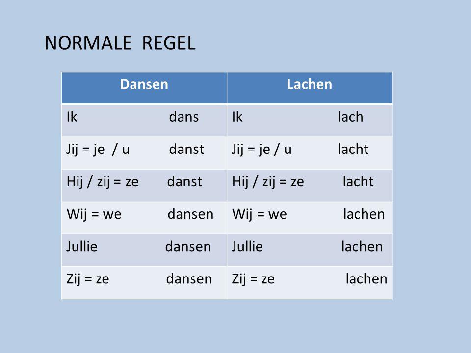 NORMALE REGEL Dansen Lachen Ik dans Ik lach Jij = je / u danst