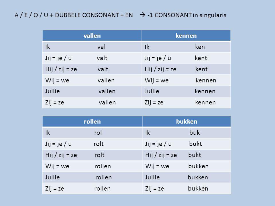 A / E / O / U + DUBBELE CONSONANT + EN  -1 CONSONANT in singularis