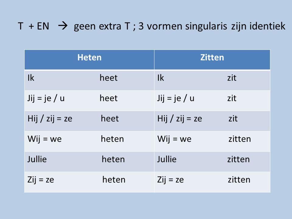 T + EN  geen extra T ; 3 vormen singularis zijn identiek