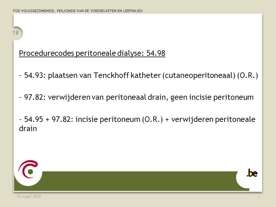 Procedurecodes peritoneale dialyse: 54.98