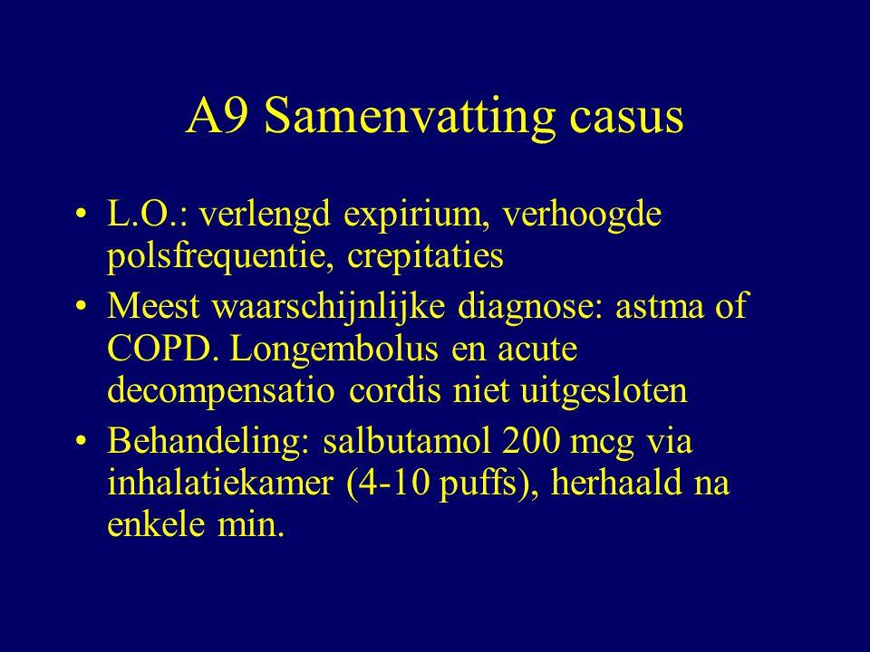 A9 Samenvatting casus L.O.: verlengd expirium, verhoogde polsfrequentie, crepitaties.
