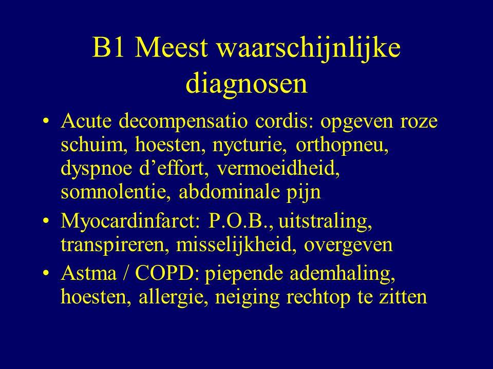 B1 Meest waarschijnlijke diagnosen