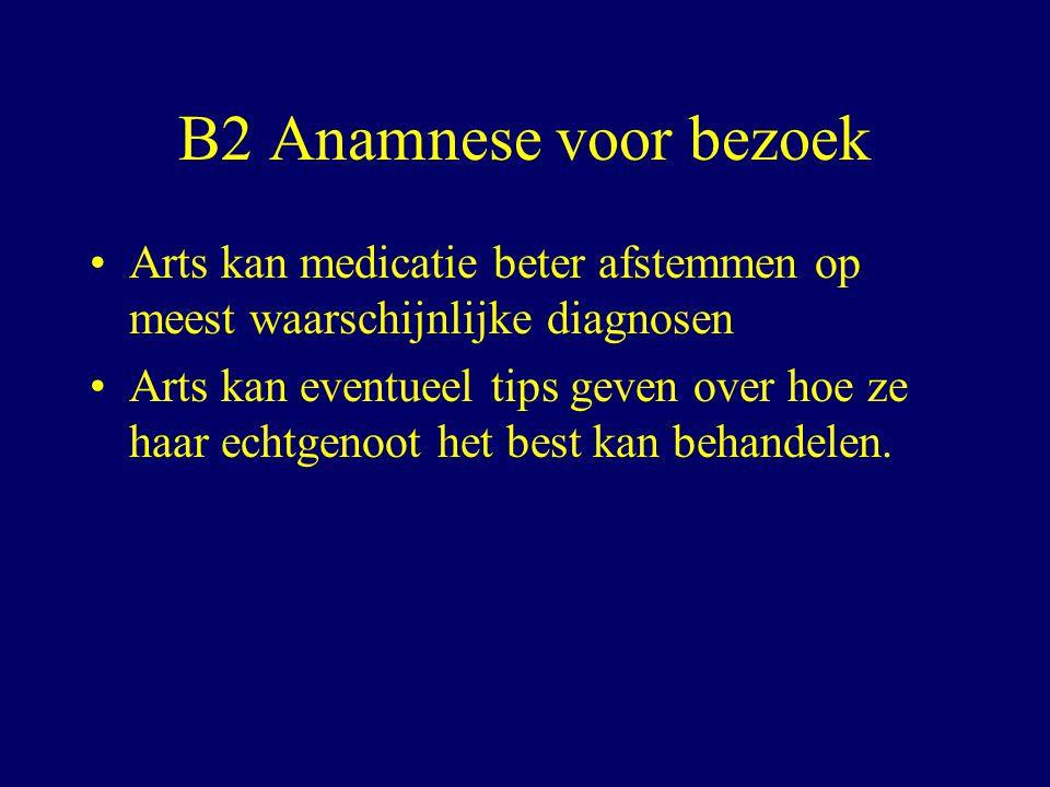 B2 Anamnese voor bezoek Arts kan medicatie beter afstemmen op meest waarschijnlijke diagnosen.