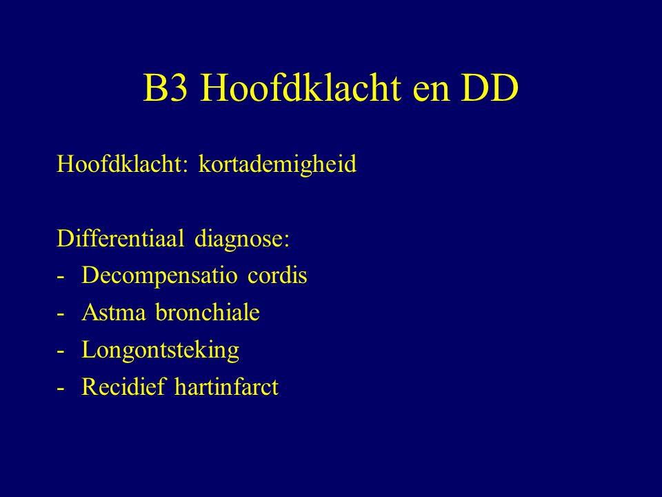 B3 Hoofdklacht en DD Hoofdklacht: kortademigheid