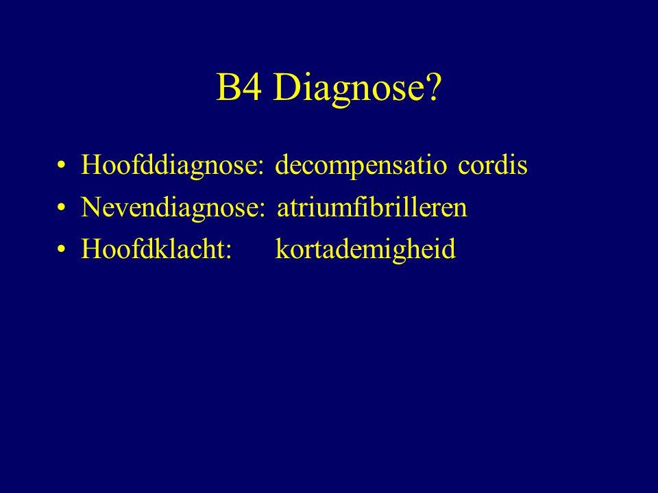 B4 Diagnose Hoofddiagnose: decompensatio cordis