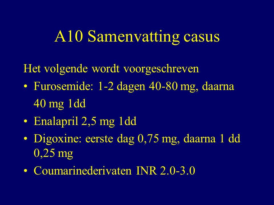 A10 Samenvatting casus Het volgende wordt voorgeschreven