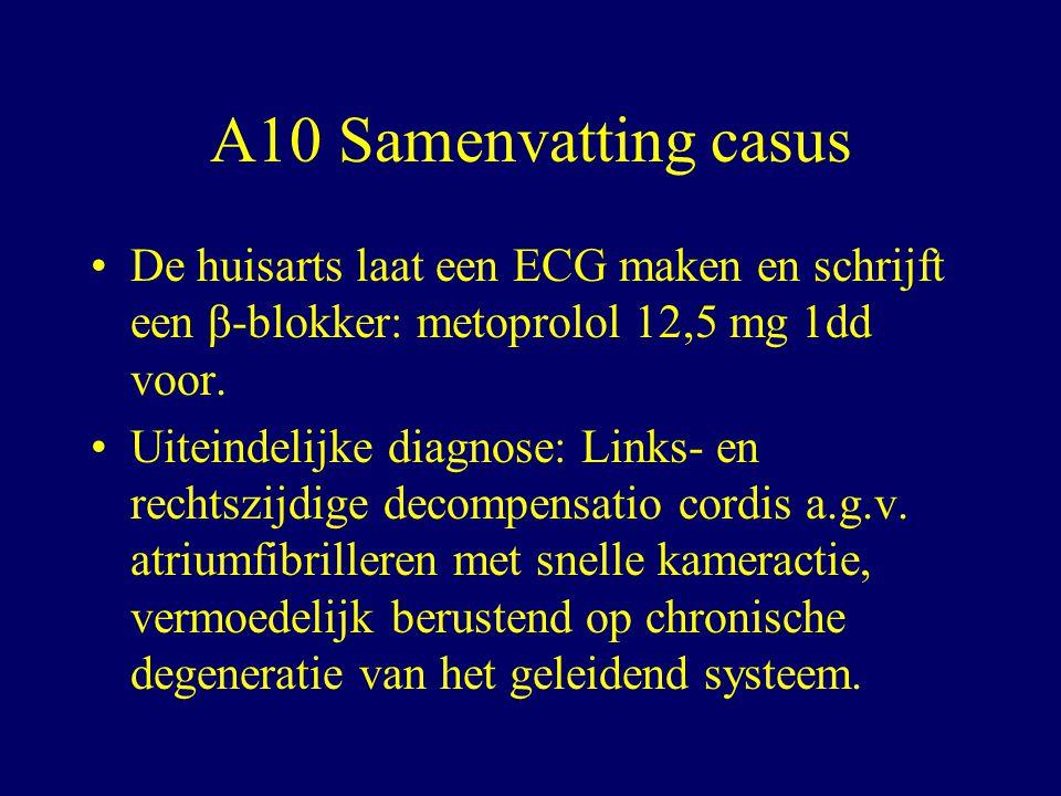 A10 Samenvatting casus De huisarts laat een ECG maken en schrijft een β-blokker: metoprolol 12,5 mg 1dd voor.