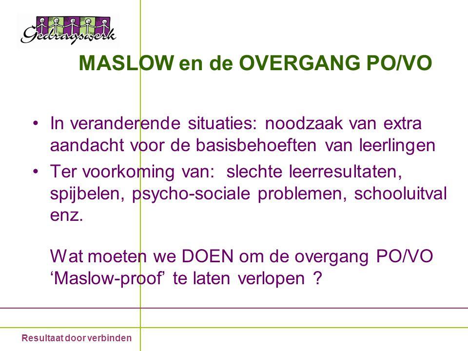 MASLOW en de OVERGANG PO/VO