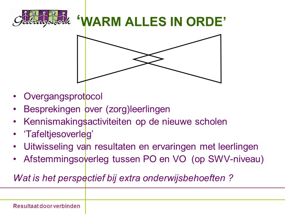'WARM ALLES IN ORDE' Overgangsprotocol