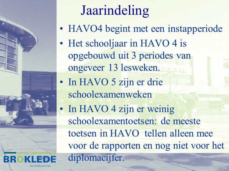 Jaarindeling HAVO4 begint met een instapperiode