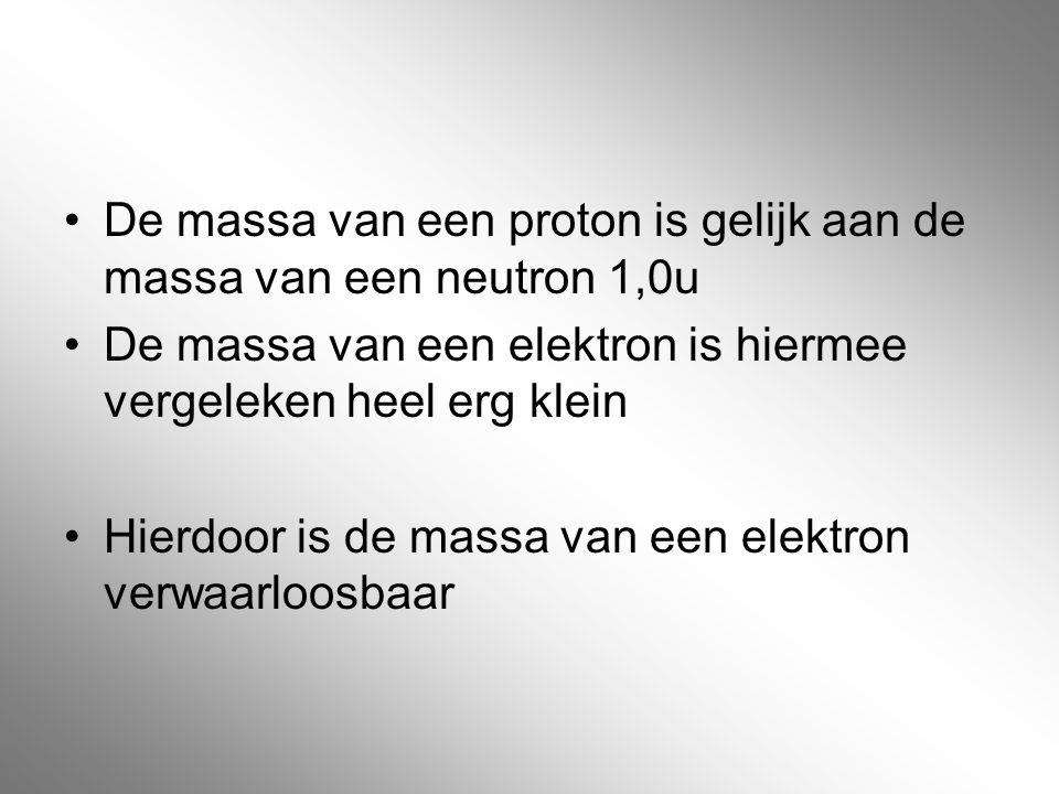 De massa van een proton is gelijk aan de massa van een neutron 1,0u