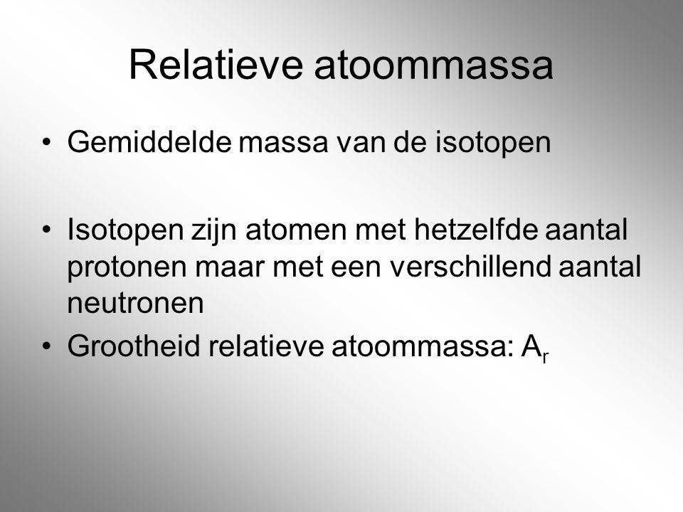 Relatieve atoommassa Gemiddelde massa van de isotopen