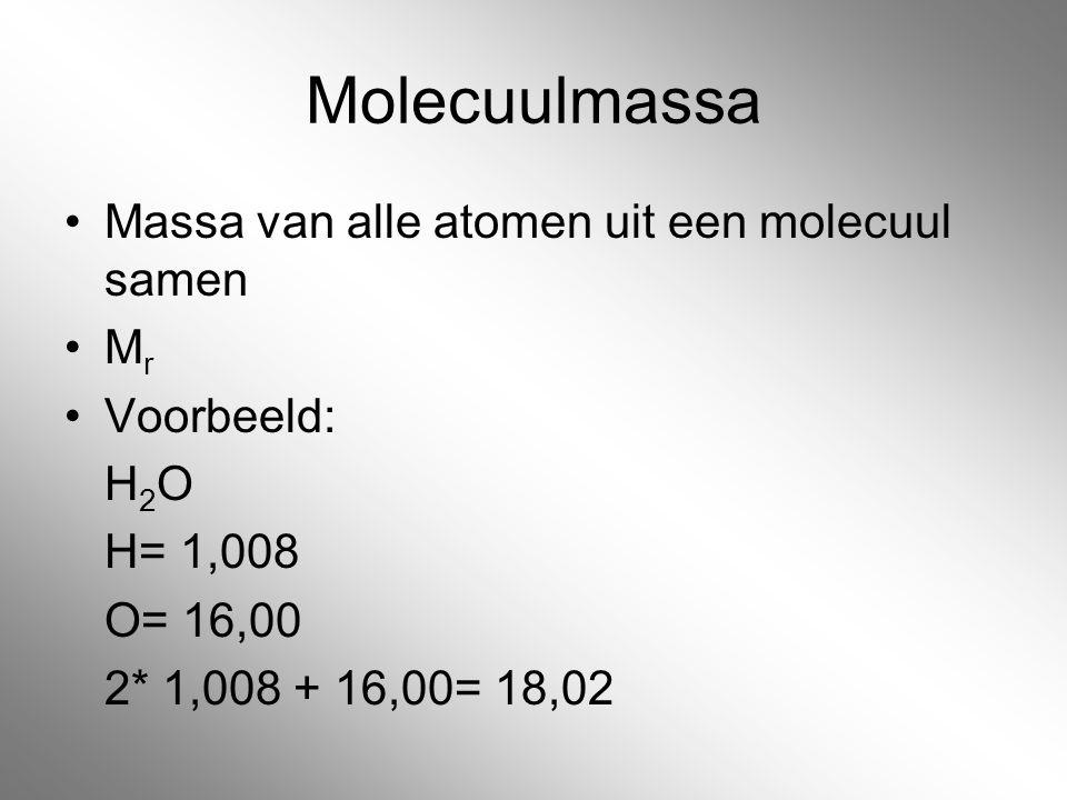 Molecuulmassa Massa van alle atomen uit een molecuul samen Mr
