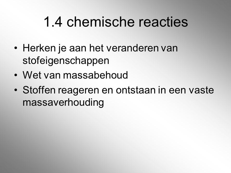 1.4 chemische reacties Herken je aan het veranderen van stofeigenschappen. Wet van massabehoud.
