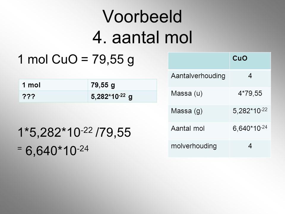 Voorbeeld 4. aantal mol 1 mol CuO = 79,55 g 1*5,282*10-22 /79,55 = 6,640*10-24 CuO. Aantalverhouding.