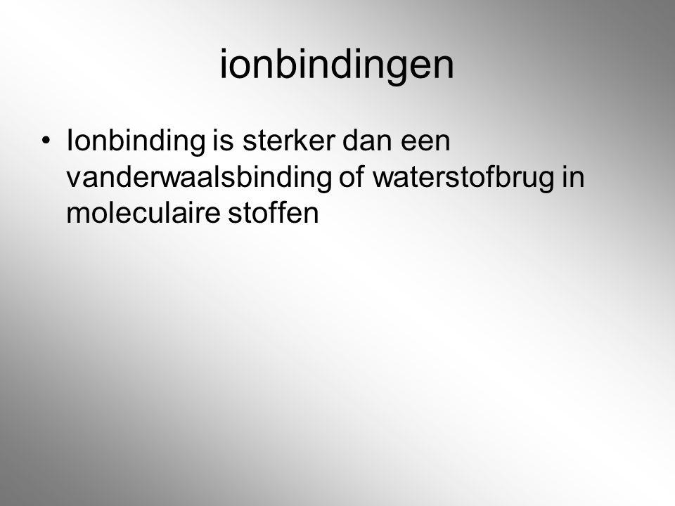 ionbindingen Ionbinding is sterker dan een vanderwaalsbinding of waterstofbrug in moleculaire stoffen.