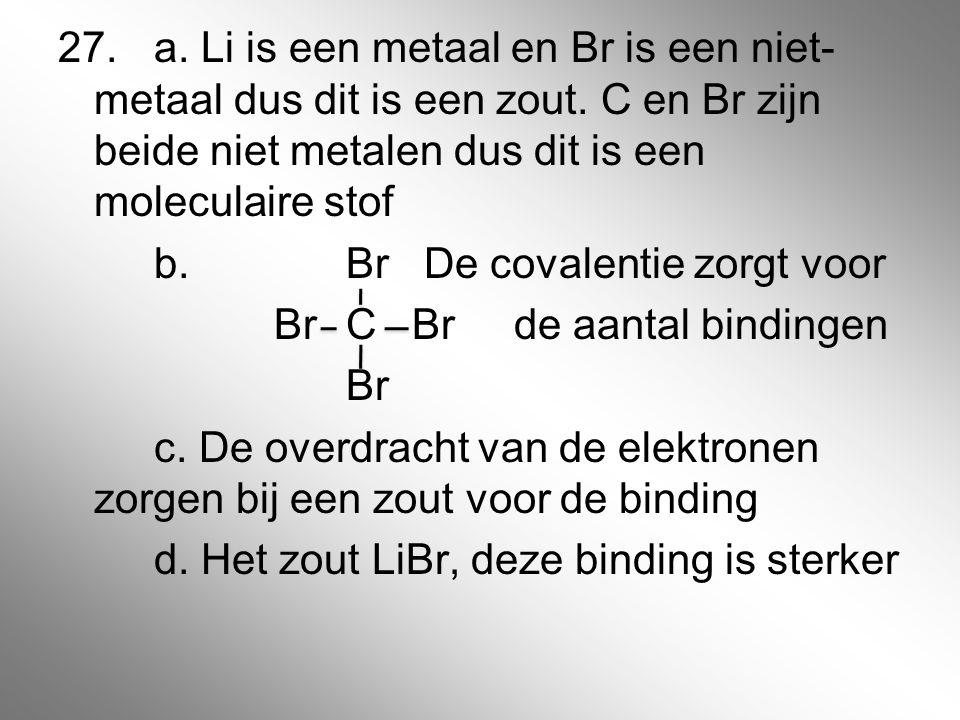 27. a. Li is een metaal en Br is een niet-metaal dus dit is een zout