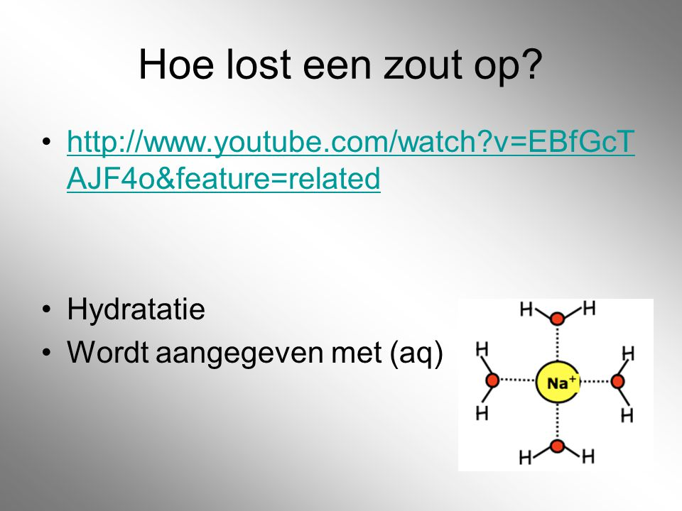 Hoe lost een zout op. http://www.youtube.com/watch v=EBfGcTAJF4o&feature=related.