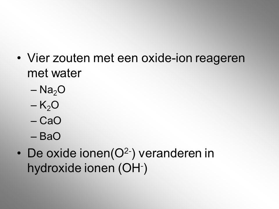 Vier zouten met een oxide-ion reageren met water