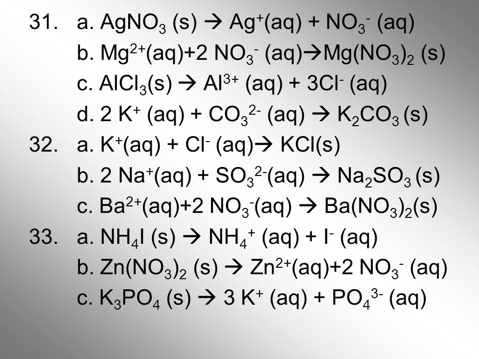 31. a. AgNO3 (s)  Ag+(aq) + NO3- (aq) b