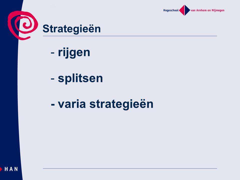 rijgen splitsen - varia strategieën Strategieën