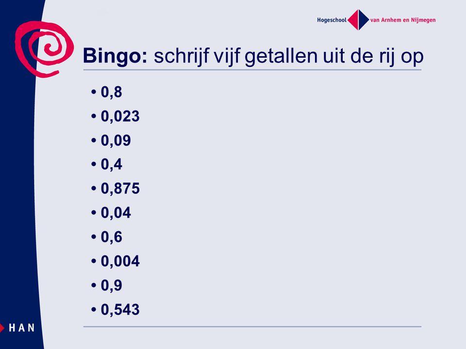 Bingo: schrijf vijf getallen uit de rij op