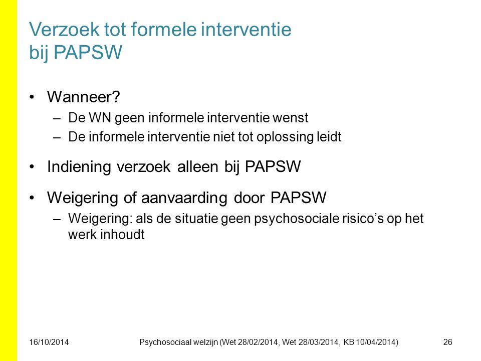 Verzoek tot formele interventie bij PAPSW