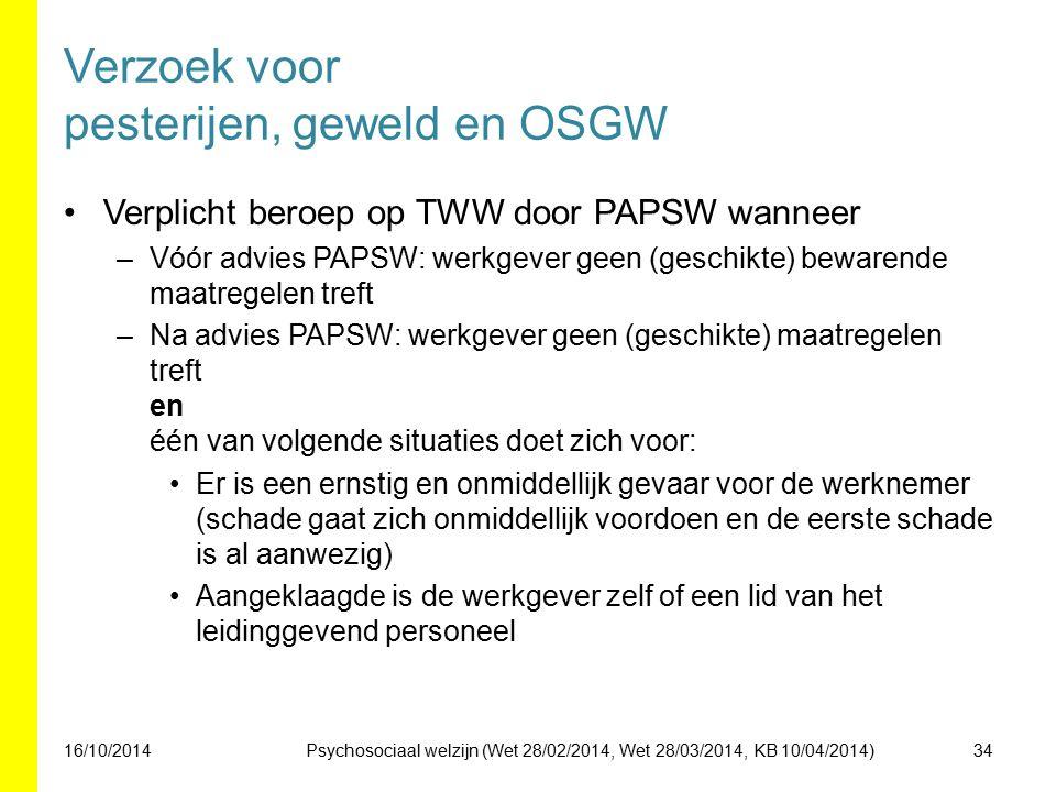 Verzoek voor pesterijen, geweld en OSGW