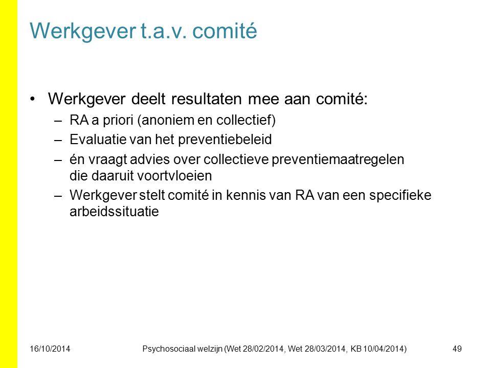 Werkgever t.a.v. comité Werkgever deelt resultaten mee aan comité: