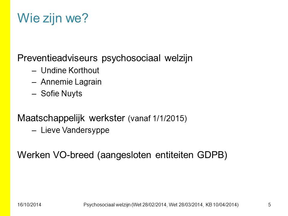 Wie zijn we Preventieadviseurs psychosociaal welzijn