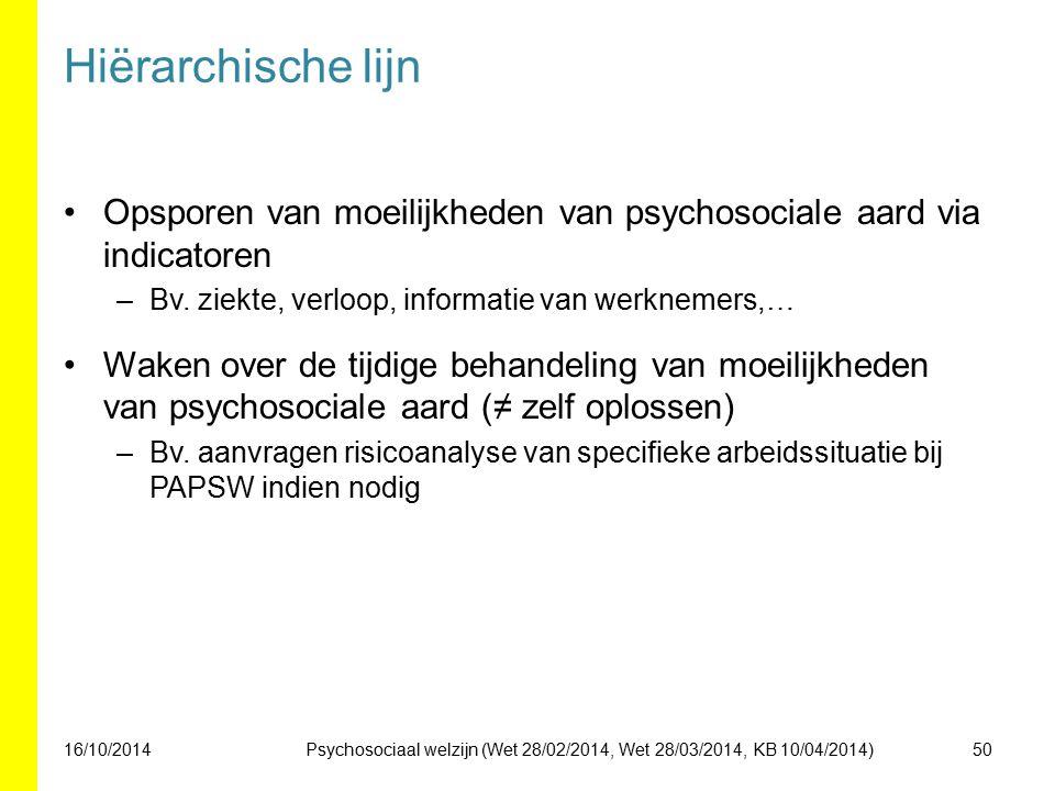 Hiërarchische lijn Opsporen van moeilijkheden van psychosociale aard via indicatoren. Bv. ziekte, verloop, informatie van werknemers,…