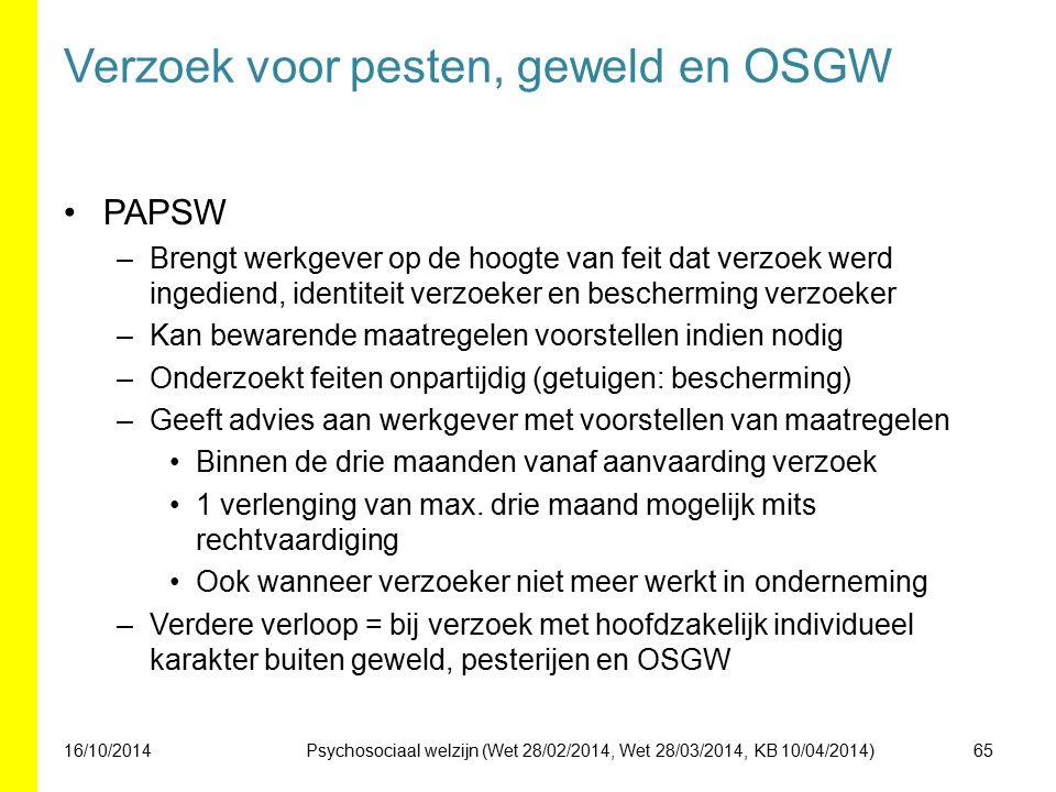 Verzoek voor pesten, geweld en OSGW