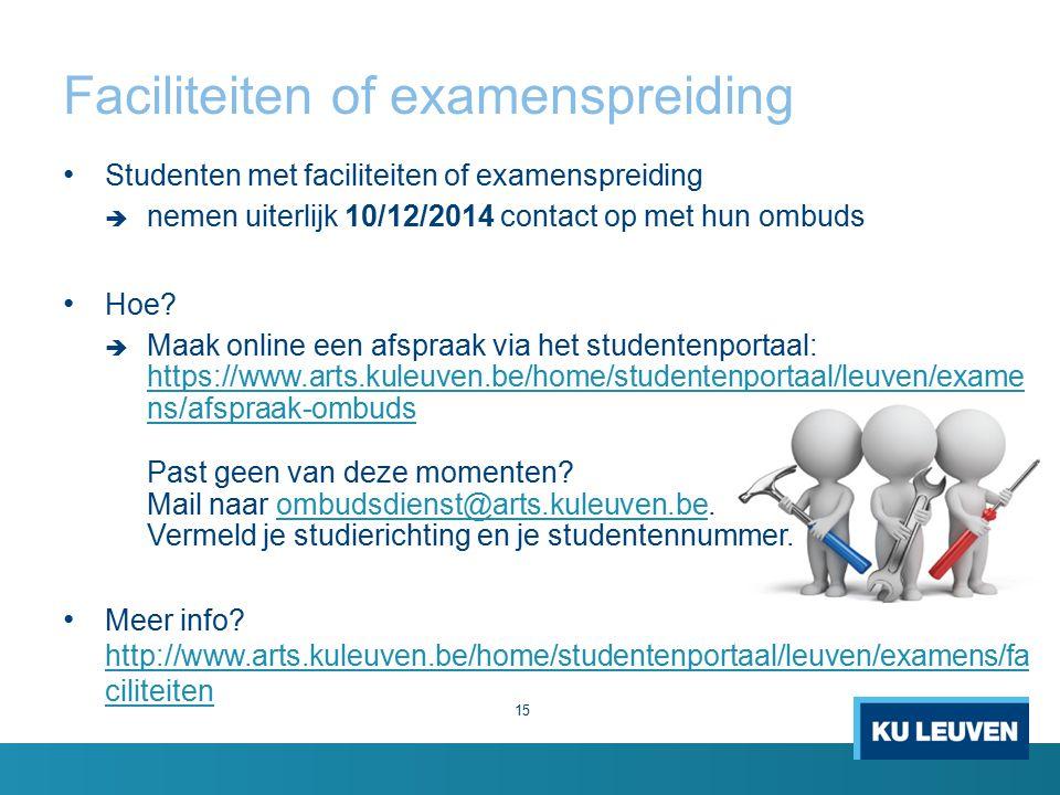 Faciliteiten of examenspreiding