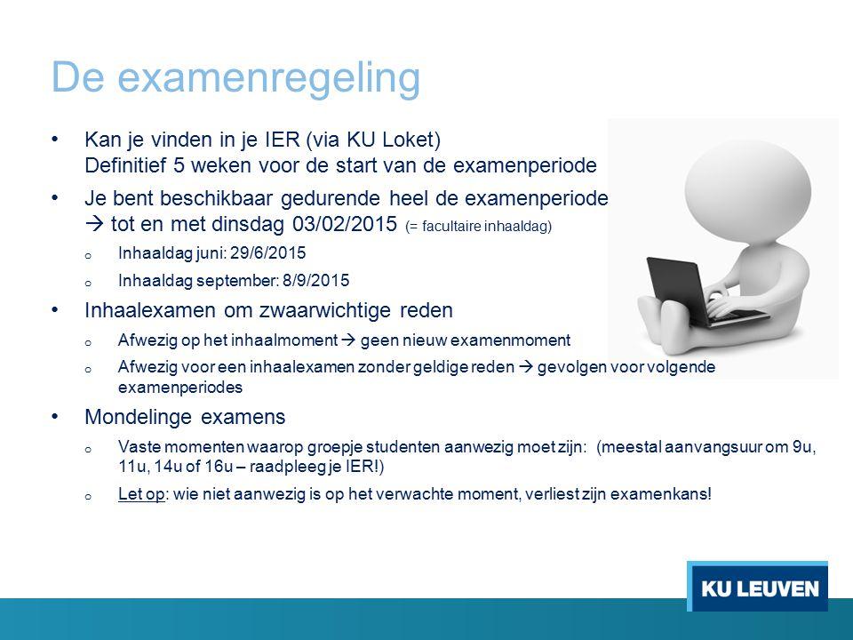 De examenregeling Kan je vinden in je IER (via KU Loket) Definitief 5 weken voor de start van de examenperiode.