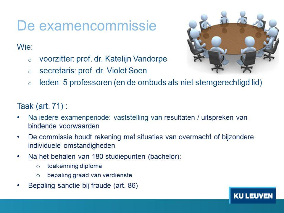 De examencommissie Wie: voorzitter: prof. dr. Katelijn Vandorpe