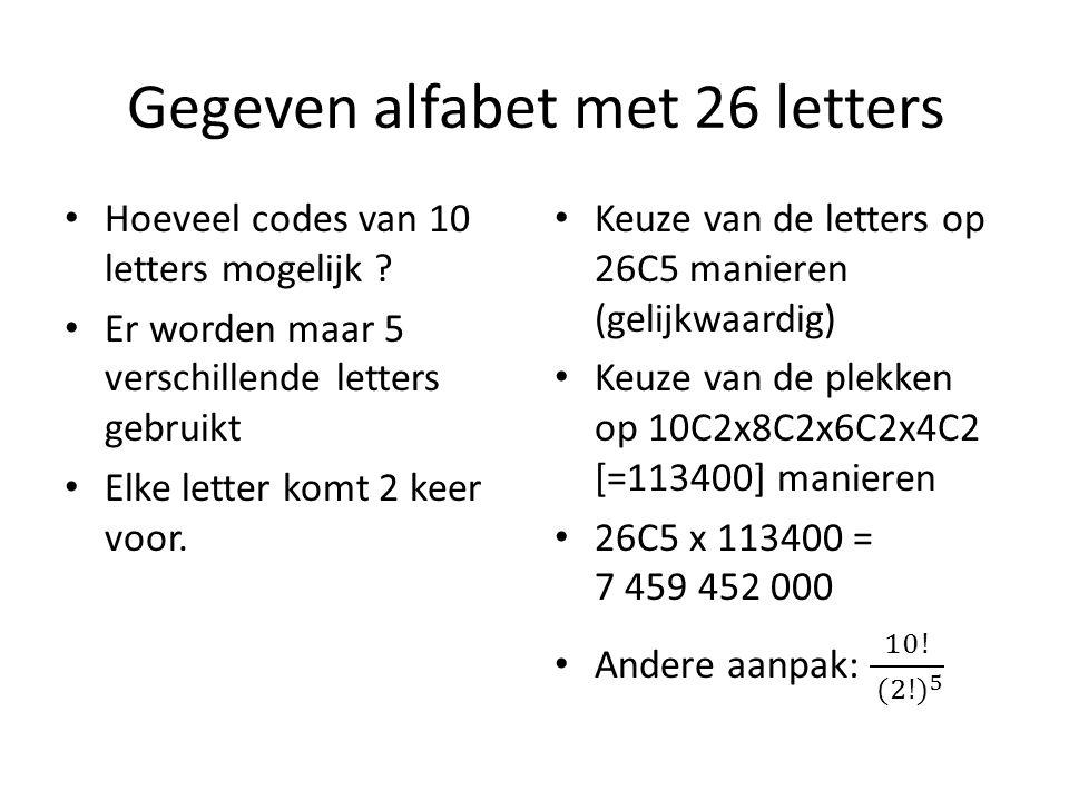 Gegeven alfabet met 26 letters