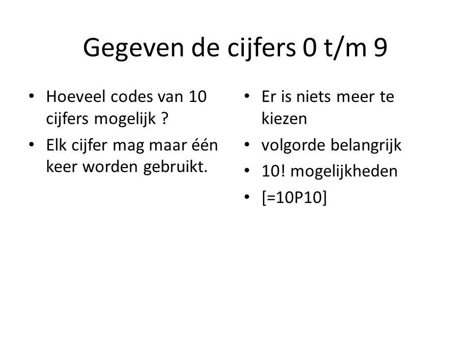 Gegeven de cijfers 0 t/m 9 Hoeveel codes van 10 cijfers mogelijk