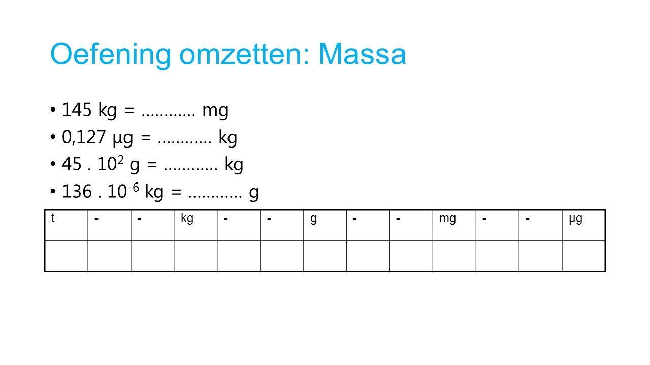 Oefening omzetten: Massa