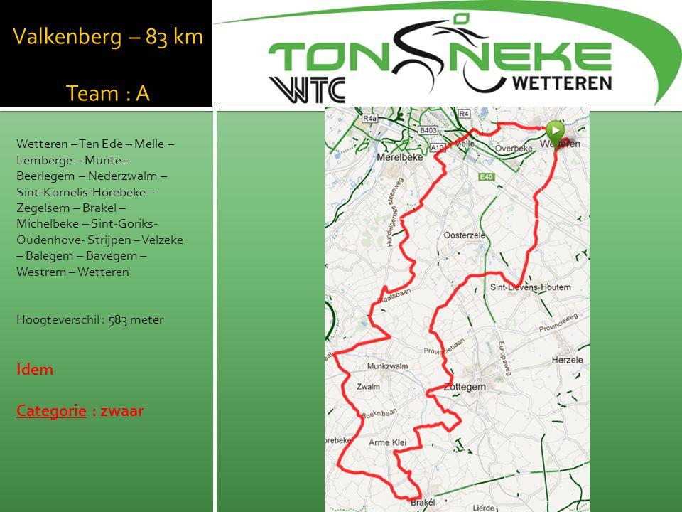 WTC Wetthra Valkenberg – 83 km Team : A Idem Categorie : zwaar